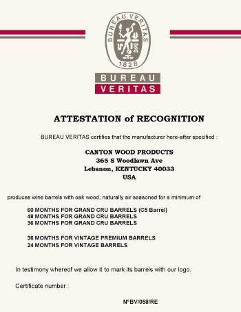 Open-Air Seasoning Certification | Canton Cooperage