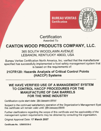 HACCP Food Safety Certification   Canton Cooperage